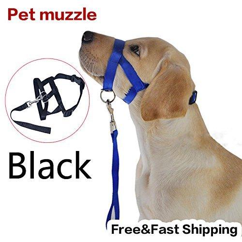 Zehui Black Pet Adjustable Dog Muzzle Fabric Nylon Comfortable Soft No Bark Bite ()