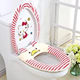 YOURNELO Cartoon Cute Animals Toilet Seat Lid Cover Two Pieces (Red)