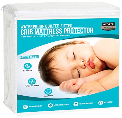Utopia Bedding Waterproof Crib Mattress Protector - Breathable Mattress Cover - Hypoallergenic Quilted Crib Fitted - Cradle Mattress Pad (Single Pack)