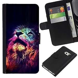 EJOY---La carpeta del tirón la caja de cuero de alta calidad de la PU Caso protector / Samsung Galaxy S6 EDGE / --Universo Estrellas Profundo Significado África
