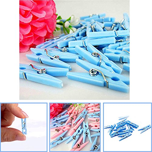 Adorox (Blue (48 Pieces)) Small Clothes Pins Baby Shower Clothespin Favors Pink Girl Blue Boy Party Game
