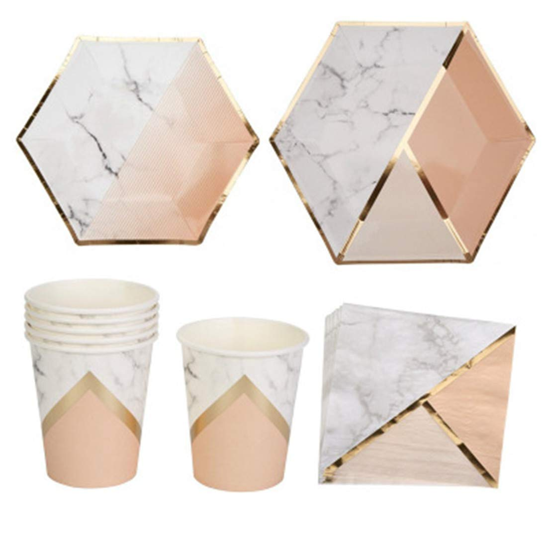 Hexagonal Irregular Plate Set Party Birthday Tableware Disposable Paper Plate Gilding Drink Paper Cup