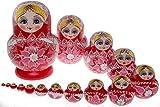 Moonmo 15pcs Beautiful Red Handmade Wooden Russia Nesting Dolls Gift Russian Nesting Wishing Dolls Matryoshka Traditional