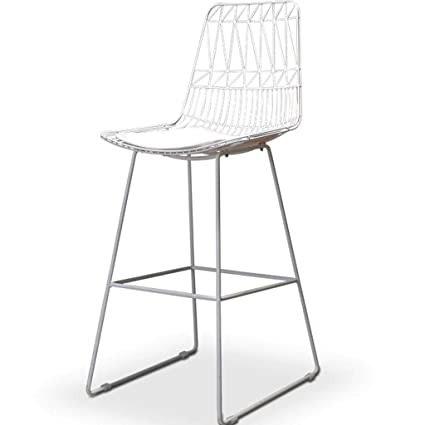 Amazon.com: YUN Wrought Iron Bar Stool Wire Mesh Chair Hollow Wine ...