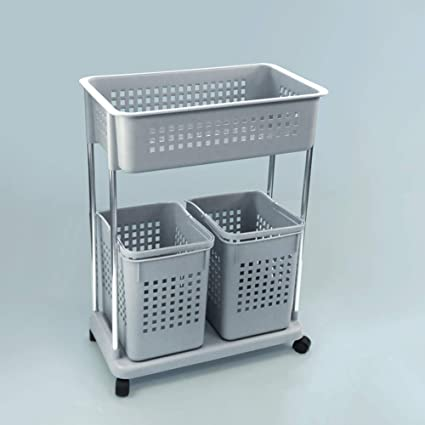 . Amazon com  CLEAVE WAVES 2 Tier Rolling Laundry Basket Duty Hamper