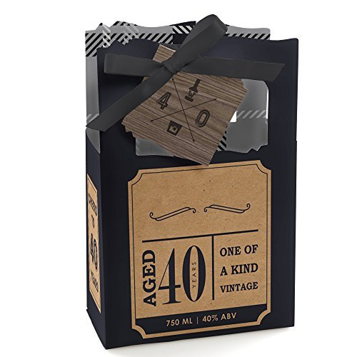 40th Milestone Birthday - Dashingly Aged to Perfection - Party Favor Boxes - Set of 12]()