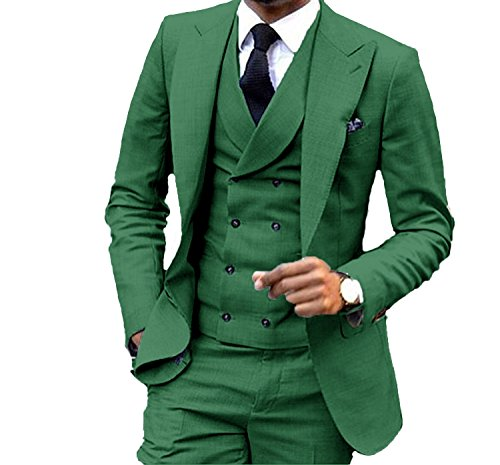 JY Men's Fashion 3 Pieces Men Suits Wedding Suits for Men Groom Tuxedos Green - Fashion 3 Piece Suit