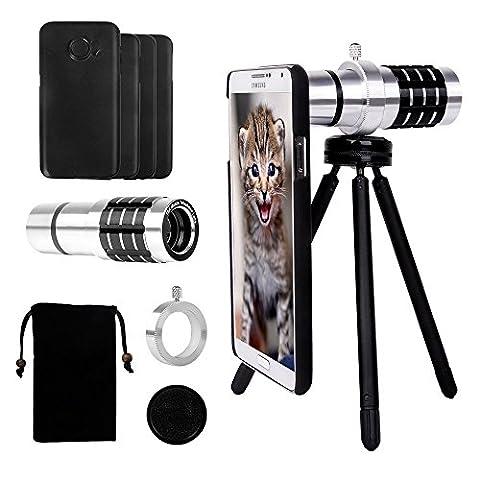 Telephoto Lens for Samsung Galaxy S7 Edge/S7/S6 Edge/S6, Yarrashop Camera Lens Kit with 12x Aluminum Telephoto Lens + Mini Tripod + Hard Case + Velvet Bag + Cleaning - Velvet Lens