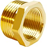"Joywayus Brass Reducer Hex Bushing Reducing Pipe Fitting 1/2"" G Female × 3/4"" NPT Male Thread Adapter"