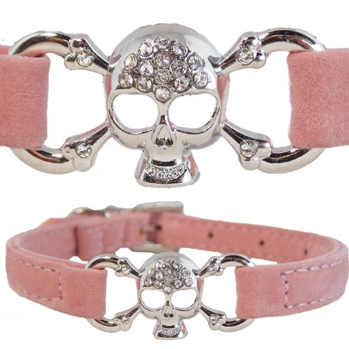 WwWSuppliers Adjustable PU Velvet Suede Leather Bling Skull & Bones Pirate Rhinestones Fashion Collar for Dogs, Puppies, Cats or Kittens (Small, Pink)