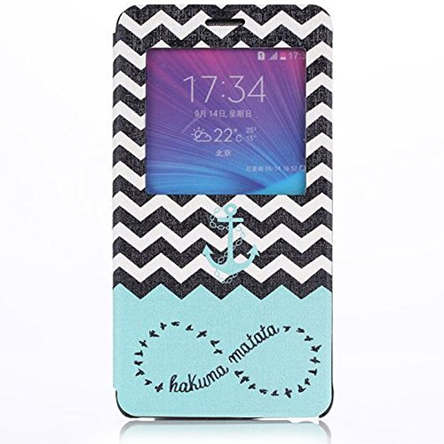 Note 4 Case, Galaxy Note 4 Case, Dteck(TM) Fashion Cartoon Design Premium Leather [Window View] Flip Stand Case Folio Cover for Samsung Galaxy Note 4 IV N9100 with Free Gifts Screen Protector & Random Color Stylus Pen & Dteck Brand Cleaning Cloth (#02 Chevron Anchor)
