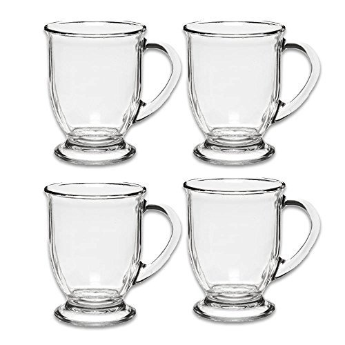 Anchor Hocking 83045AHG17 Glass 16 Ounce Cafe Mug, Set of 4, 4-Pack, Clear by Anchor Hocking