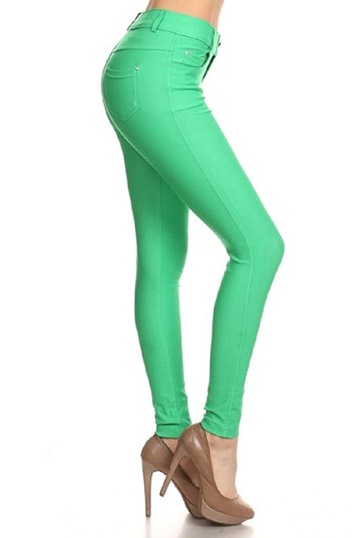Fashion Mic Womens Pull On Cotton Blend Color Jeggings Yelete ALT-827JN201-P-BLK