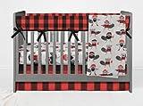 AllTot Crib Bedding Set- Adventure Lumberjack Beaver- 4 Piece crib bedding set