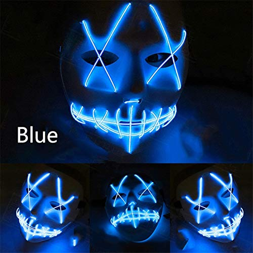 Kuteck LED Mask for Halloween, Clubbing Light Up Stitches LED Mask Costume Halloween Rave Cosplay Party Purge (3 Flashing Modes) -