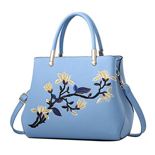 KONFA Women Leather Shoulder Blue Elegant Messenger Crossbody Tote Ladies Bag Light Bags Floral rrqdF