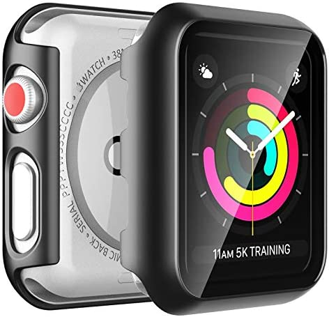 [2 Pack] LϟK Case for Apple Watch 38mm Series 3/2/1 Built-in Tempered Glass Screen Protector, All-Around Ultra-Thin Bumper Full Cover Hard PC Protective Case for iWatch 38MM – Black