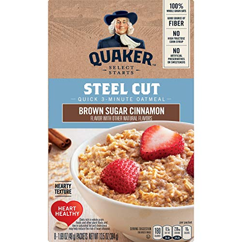 Quaker Steel Cut Quick 3-minute Oatmeal, Brown Sugar and Cinnamon, 13.5 Ounce, 6-Pack