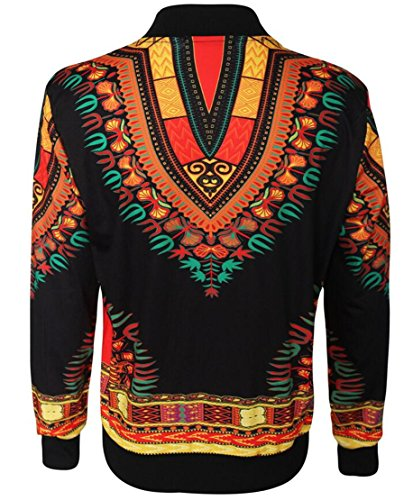 Domple Women's Casual Pockets Dashiki African Print Bomber Zipper Jacket Black 3XL by Domple (Image #2)