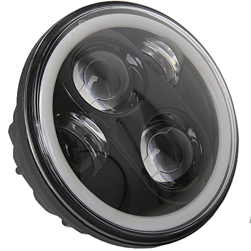 5.75 inch Daymaker LED Headlights Halo Bulbs Lights Kit for Harley Davidson Street Bob Super Wide Glide Low Rider Night Rod Softail Custom Iron 883 Dyna Headlamp Indian Scout Triumph Black