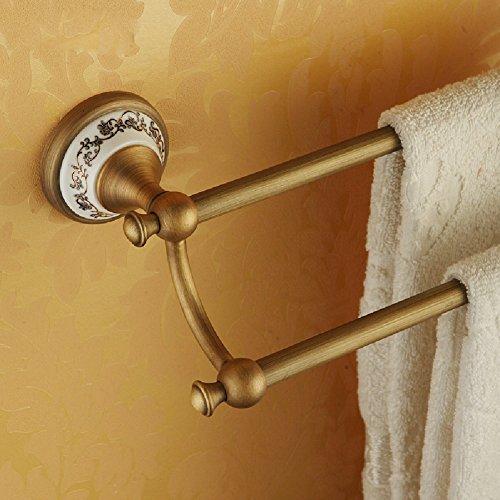 KHSKX Copper blue-and-white porcelain Towel Bar double Towel rack bathroom Towel Bar Luxury upscale pendant 85%OFF