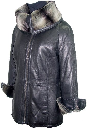 Paccilo 5008 Women Hooded Leather Coats Fake Fur The Parka Fine Soft Lamb by Paccilo (Image #5)