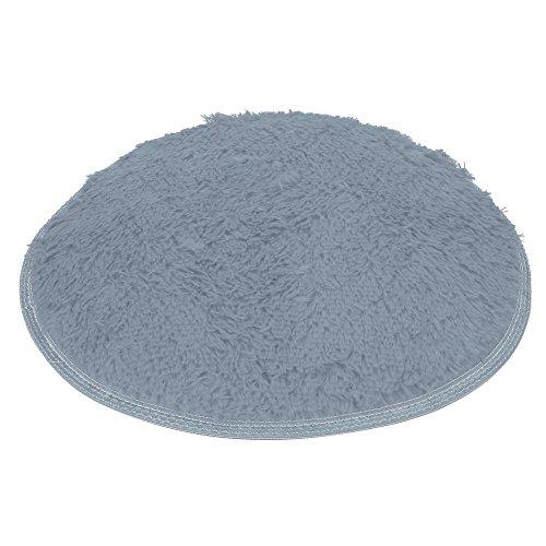 Flurries  Round Shape - Non-Slip Soft Plush Coral Fleece Plain Area Rugs - Shaggy Chair Cover Couch Stool Seat Pad Mat Cushion Carpet Blanket - Home Decorator Bedroom Sofa Floor Bathroom (Gray)
