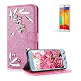 Funyye 3D Bling Flower Diamond Wallet Leather Case for Samsung Galaxy J6 2018,Pink Premium Glitter Crystal Shiny Rhinestone PU Leather Protective Cover Case,Multifunctional Magnetic Flip with Stand Credit Card Holder Slots Case for Samsung Galaxy J6 2018 + 1 x Free Screen Protector