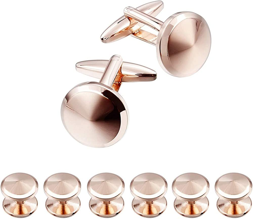 HAWSON Cufflink and Studs Tuxedo Set Rose Gold Silver Black and Gold Color with Platinum Finish Two Cufflinks with Six Shirt Studs in Stylish Velvet Gift Bag