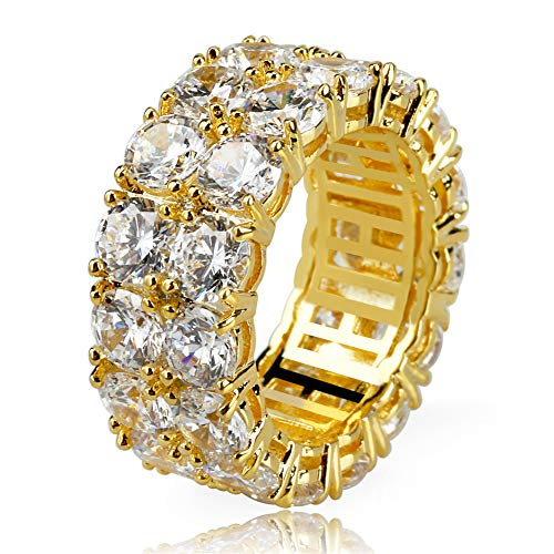 TOPGRILLZ 9mm 2 Rows Round Cut 14K Gold and Silver Plated Iced Out CZ Lab Diamond Eternity Wedding Engagement Band Ring for Men and Women