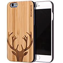 iPhone 6 Case - Wood - Real Natural Bamboo Wooden Backplate With Unique Deer Design and Shock Absorbing Polycarbonate Protective Bumper