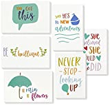 Inspirational Quote Cards - Inspiring Motivational Cards - 6 Unique Designs - Bulk Box Set - Includes 48 Cards Envelopes - 4 x 6 inches