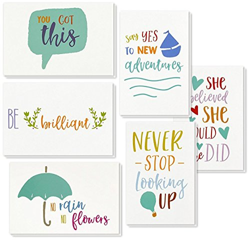 Inspirational Quote Cards - Inspiring Motivational Cards - 6 Unique Designs - Bulk Box Set - Includes 48 Cards with Envelopes - 4 x 6 Inches