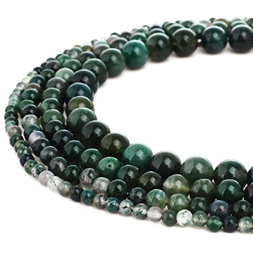 RUBYCA Wholesale Natural Moss Agate Gemstone Round Loose Beads for Jewelry Making 1 Strand - 6mm Colored Agate