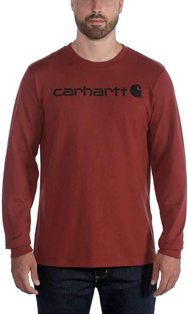 Carhartt Mens Core Logo Long Sleeve Cotton Crewneck T Shirt