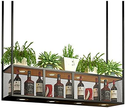 MYS-Wine rack C-K-P Barra De Hierro Forjado Colgante Colgante Estante De Copa De Vino Estante Vinoteca Estante De Vino Estante Estante Estante Estante De Almacenamiento Decoración Estante 100X30X80cm