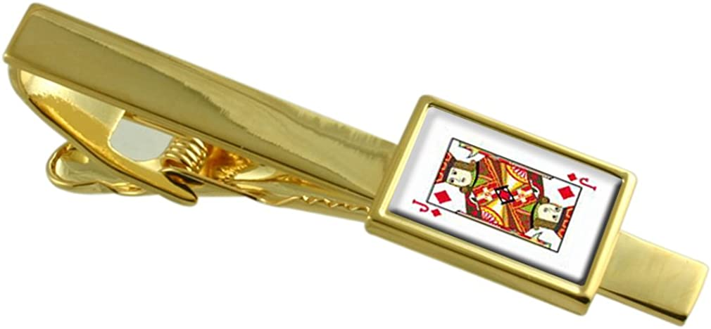 Select Gifts Diamond Playing Card Jack Gold-Tone Tie Clip Engraved Message Box