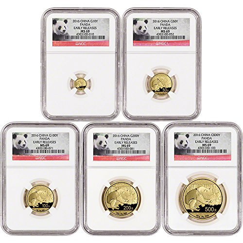 CN 2016 China Gold Panda 5-pc. Year Set Early Releases Panda Label MS69