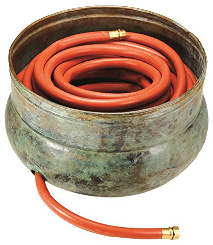 A brassy, garden hose pot perfect for gardens.