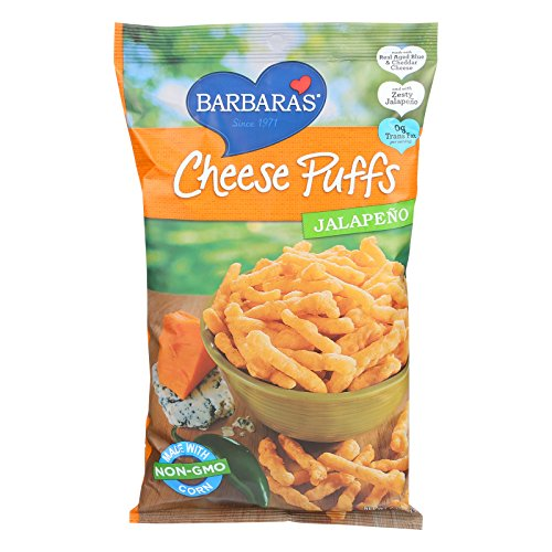 Barbaras Bakery Cheese Puffs - Jalapeno - No Trans Fat - Case of 12 - 7 oz.