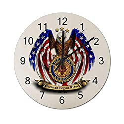 MANIIL Vintage US American Legion FLI Silent Non Ticking Wall Clock, Wooden Decorative Round Wall Clock Battery Operated