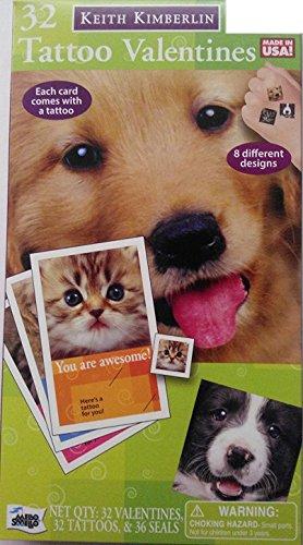 32 *Cats & Dogs* Tattoo Valentines -