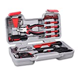 CARTMAN Red 39-Piece Cutting Plier Tool Set - General Household Hand Tool Kit with Plastic Toolbox Storage Case