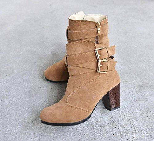 Autunno Stivali Heels Scarpe Stivaletti Boots High Invernali con da alto BeautyTop tacco Martin Donna Marrone donna wFHqFxa
