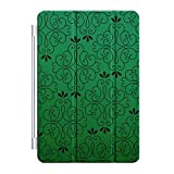 Custom Smart Cover (Magnetic) for Apple iPad Air - Green Black Floral Pattern