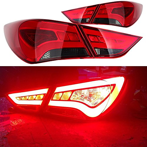Scitoo Red Smoke Taillight LED Rear Brake Tail Light Lamp fit 2011 2012 2013 2014 Hyundai Sonata Pair Set