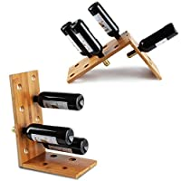 Duo-Shape Tabletop Wooden Wine Rack - Natural