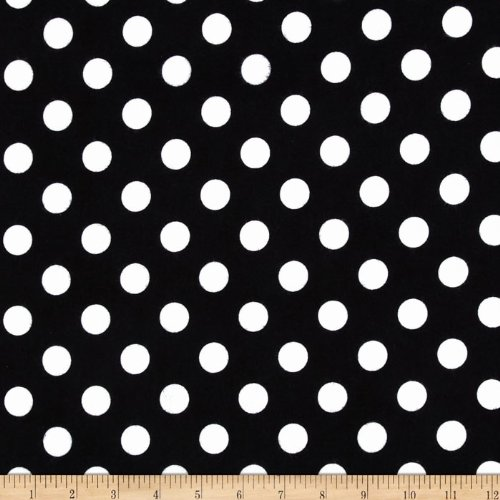 Riley Blake Medium Dots Flannel Black Fabric By The Yard