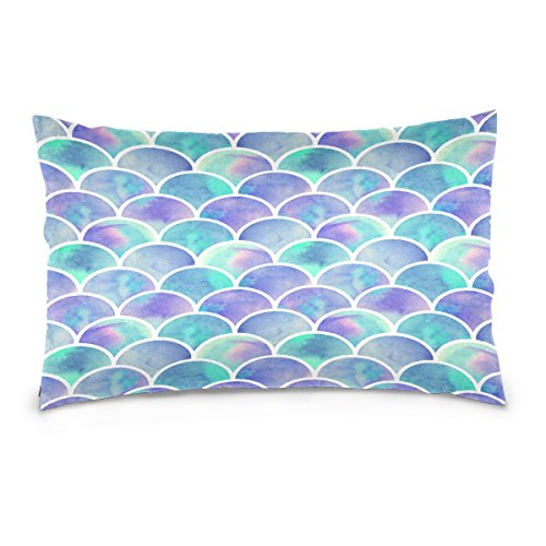 ALAZA Watercolor Ocean Sea Animal Cotton Standard Size Pillowcase 26 X 20 Inches Twin Sides, Rainbow Mermaid Scale Pillow Case Sham Cover Protector Decorative for Couch Ded