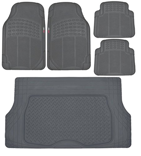 Motor Trend Heavy Duty Gray All Season Odorless Rubber - 4 Piece Floor Mats w/ 1 Piece Trim to Fit Trunk Cargo Liner ()